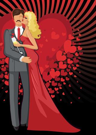 innamorati che si baciano: Gli amanti Baciare romantico delle coppie uomo e donna Vettoriali