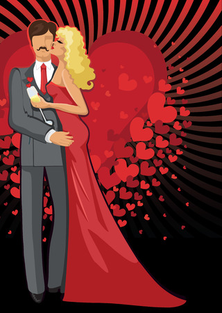 Kissing Lovers Romantic couple man and woman Vector