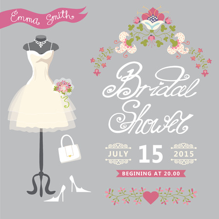 Bridal Shower card Cute wedding invitation with floral border Vector