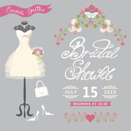 transparent dress: Bridal Shower card Cute wedding invitation with floral border