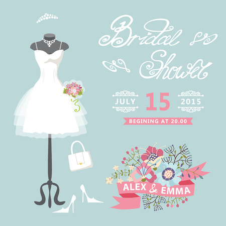 woman dress: Bridal Shower card Cute wedding invitation with floral elements