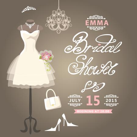 short dress: Bridal Shower card Cute wedding invitation
