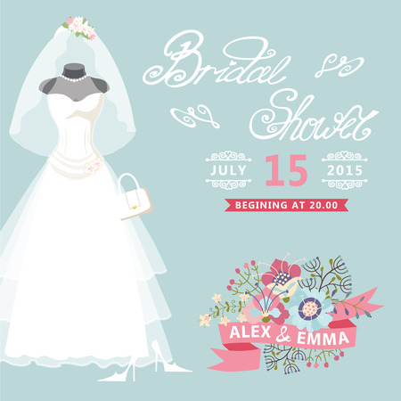 Bridal Shower card Vintage wedding dress with floral elements