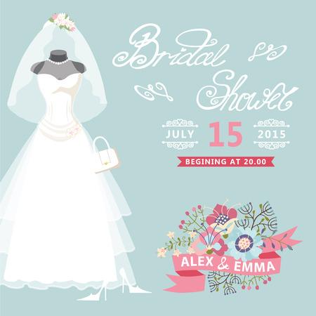 vintage lady: Bridal Shower kaart Vintage trouwjurk met bloemen elementen Stock Illustratie