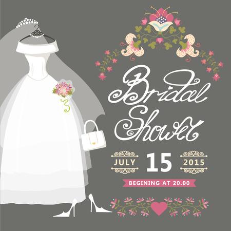 Bridal Shower card Vintage wedding invitation with floral border Illustration