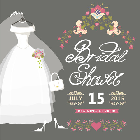 Bridal Shower card Vintage wedding invitation with floral border Vettoriali