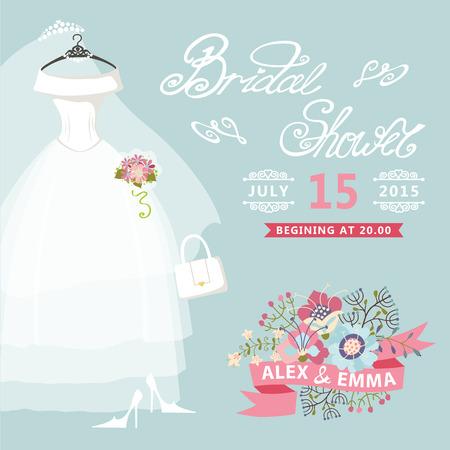 transparent dress: Bridal Shower card Vintage wedding invitation with floral elemen Illustration