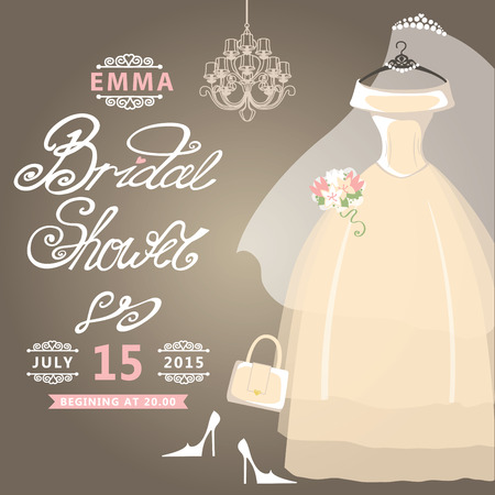 Bridal Shower card Vintage wedding invitation Vector