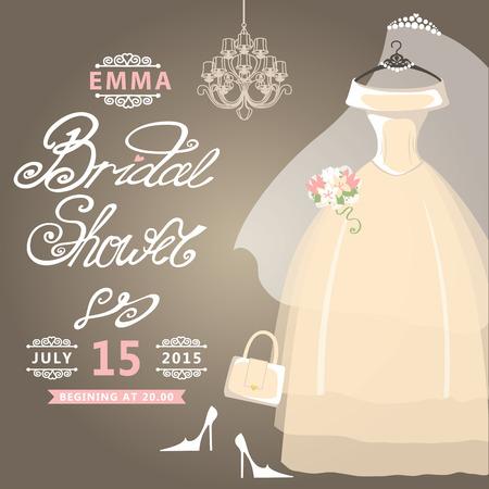 Bridal Shower card Vintage wedding invitation Vector
