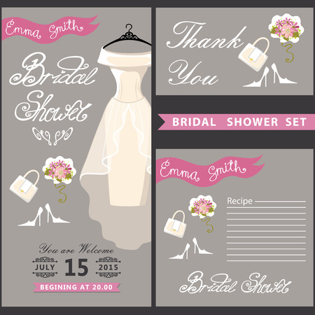Bridal shower design  template set with wedding dress eps Vector
