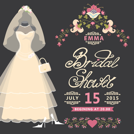 mode retro: Uitnodiging van het vrijgezellenfeest vintage bruidsjurk met bloemen