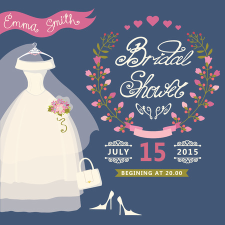 Bridal Shower invitation with floral wreath,wedding dress Vector