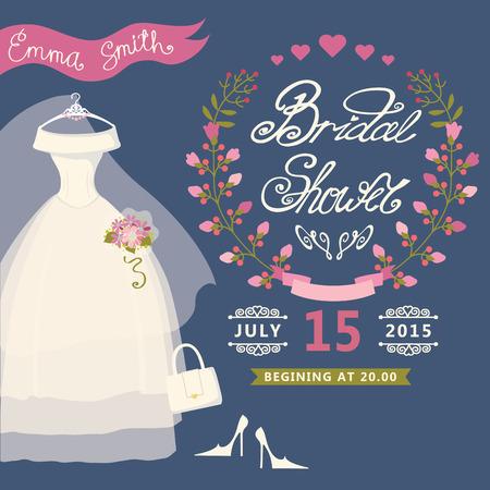 bridal shower: Bridal Shower invitation with floral wreath,wedding dress