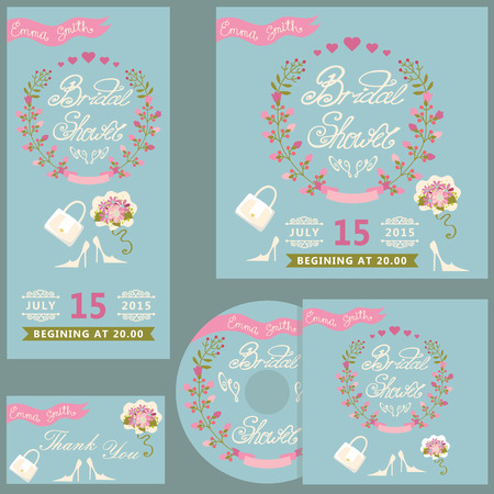 Cute bridal shower design  template set with flowers Vector