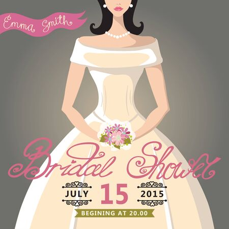 Bridal Shower invitation with bride Vector