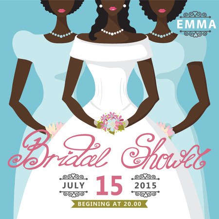 mulatto: Bridal Shower invitation Mulatto bride and two bridesmaids Illustration