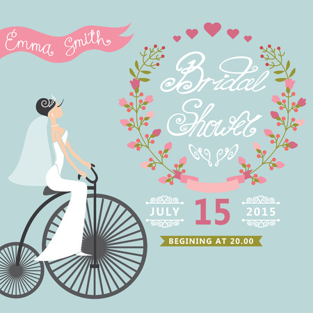 Bridal Shower Vintage Wedding invitation with floral wreath,retr Vector