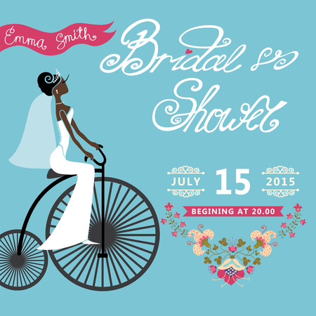 Bridal Shower  invitation with bride, floral border,retro bicycl Vector