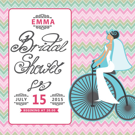 Bridal shower invitation with bride on retro bicycle zigzag bridal shower invitation with bride on retro bicycle zigzag bac stock vector 30351967 filmwisefo