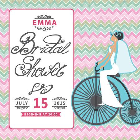 bicicleta retro: Invitaci�n nupcial de la ducha con la novia en la bicicleta retro Zigzag bac