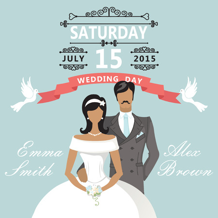 Cute flat bride and groom  Retro Wedding invitation Vector