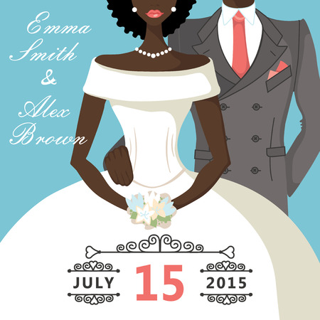 Cute cartoon mulatto bride and groom Retro Wedding invitation Vector