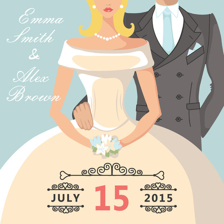 Cute cartoon bride and groom Retro Wedding invitation Vector