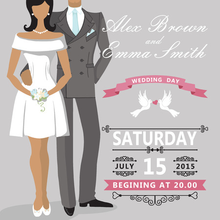 Cute cartoon bride and groom  Wedding invitation Vector