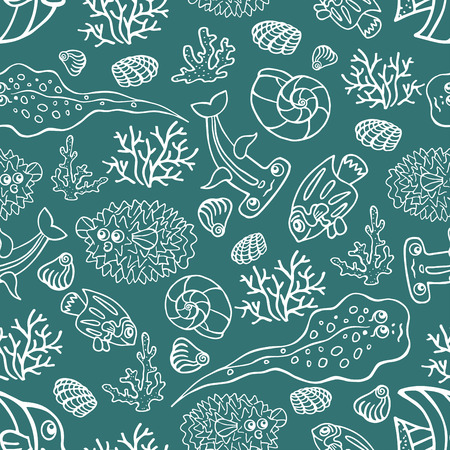 Outline Doodle seamless pattern Funny Sea Life and Fish Vector