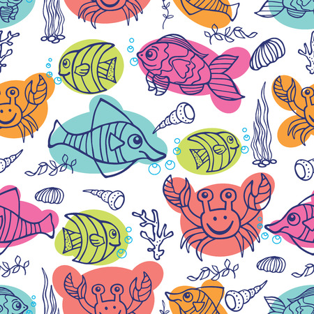 Funny Sea Life Colored Doodle seamless pattern Vector