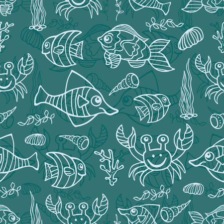Funny Sea Life and Fish Outline Doodle seamless pattern Vector
