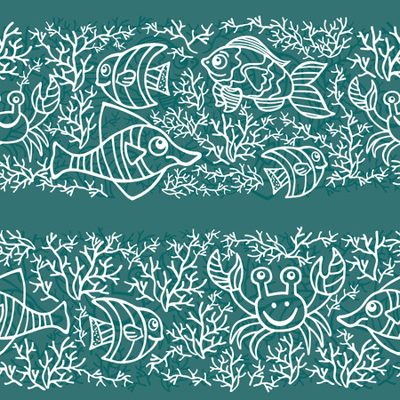 Funny Sea Life and Fish Outline Doodle seamless border Vector