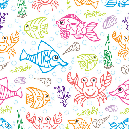 Funny Sea Life and Fish Colored Doodle seamless pattern Vector