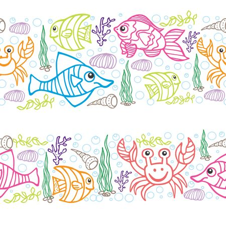 Funny Sea Life and Fish Colored Doodle seamless  border Vector