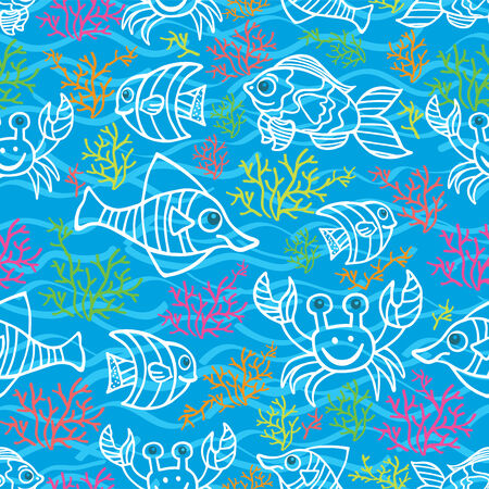 Funny Fish and Colored corals Doodle seamless pattern Vector