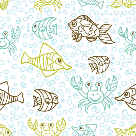 Funny crab and Fish Doodle seamless pattern,bubble background Vector