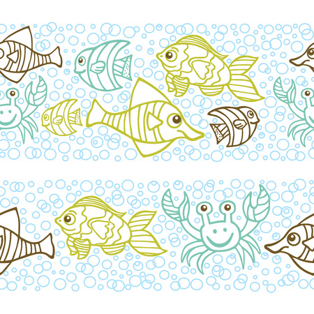 Funny crab and Fish Doodle seamless border,bubble background Vector