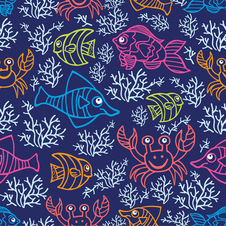 Funny  Fish and corals Colored Doodle seamless pattern Vector