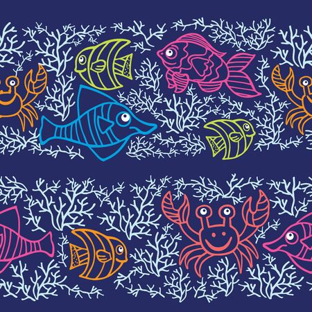 Funny  Fish and corals Colored Doodle seamless border pattern Vector