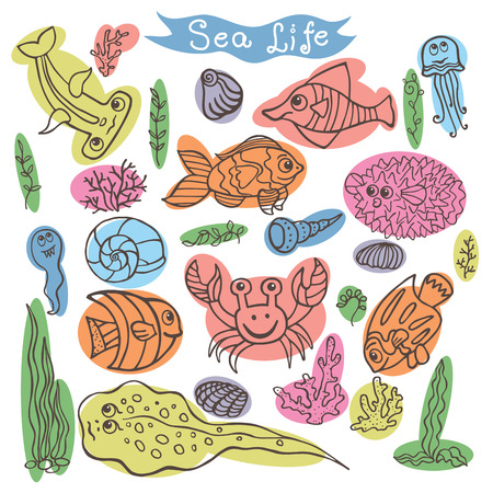 Funny Sea Life Colored outline Doodle set  Vector