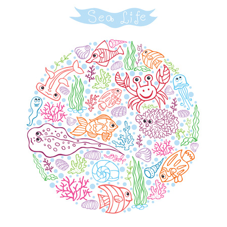 Funny Sea Life Colored outline Doodle set in cirrcle Vector