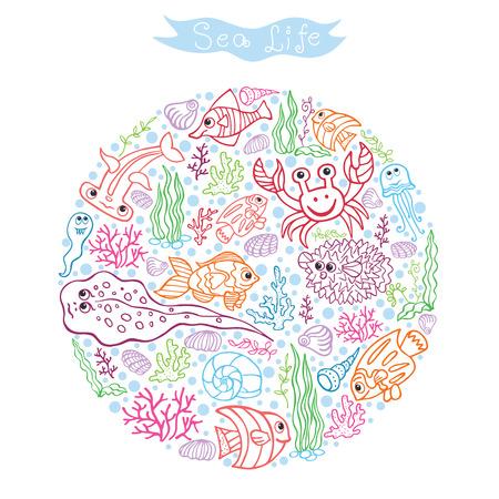 Grappig Sea Life Gekleurde schets Doodle set in cirrcle