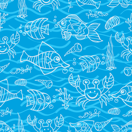 Funny Sea Life and Fish Doodle seamless pattern Vector