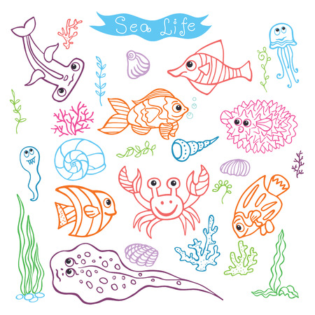Funny Sea Life and Fish Colored outline Doodle set Vector