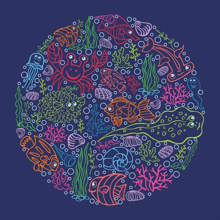 Colored outline Doodle set in cirrcle Funny Sea Life Vector
