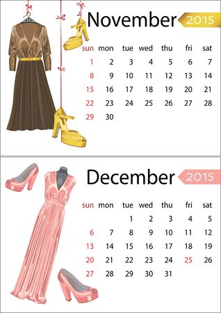 leather goods: Fashion European calendar  Dress and shoes November,December