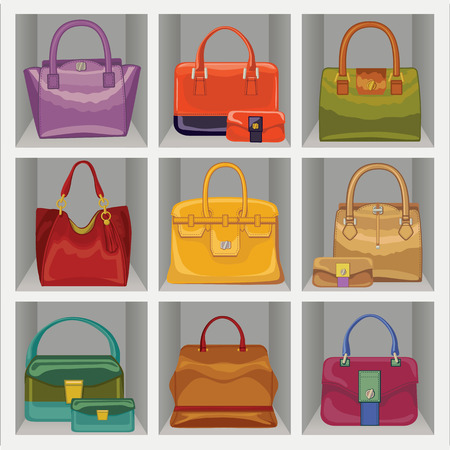 leather goods: Fashion women s handbag in the wardrobe