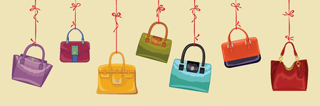 leather goods: Colorful  women s handbags hang on ribbons Horizontal banner