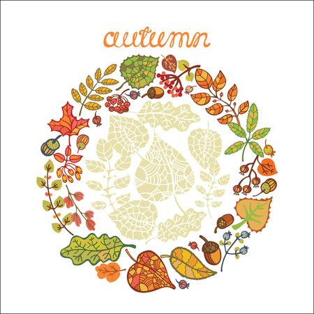 Decorative Autumn leaves wreath Vector