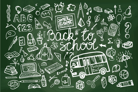 school kit: Back to School Supplies Sketchy chalkboard Doodles lettering with Swirls- Hand-Drawn